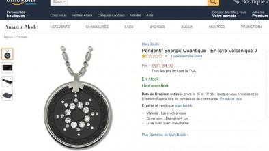 Exemple de pendentif radioactif qui a été retiré de la vente par Amazon.fr